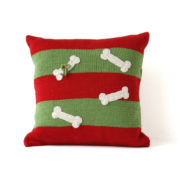Striped Dog Bone Christmas 100% Cotton Throw Pillow by The Holiday Aisle